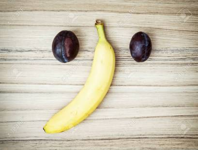 Elephant face of plums and banana
